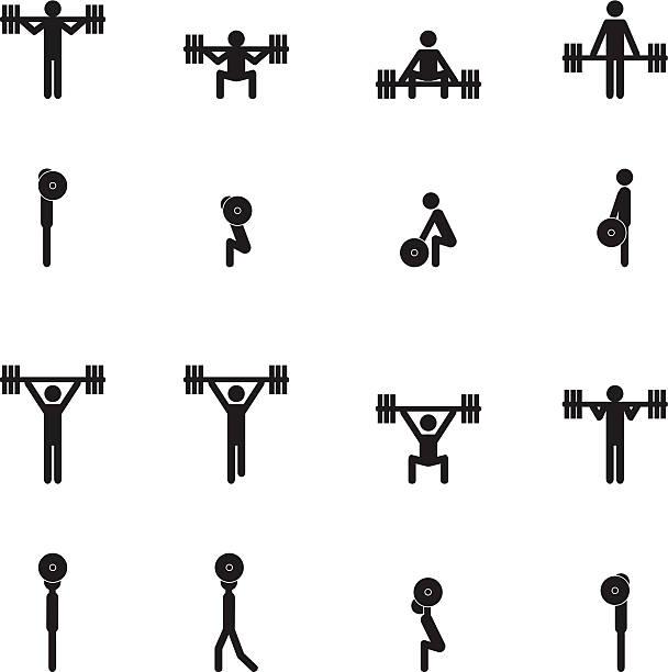 Gewichtheben icon-set – Vektorgrafik