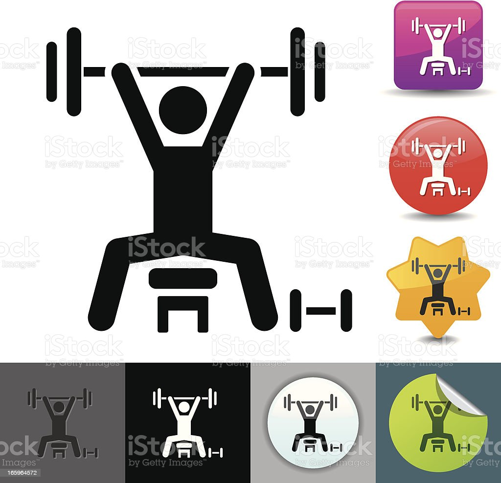 Weightlifting icon | solicosi series royalty-free weightlifting icon solicosi series stock vector art & more images of bench press