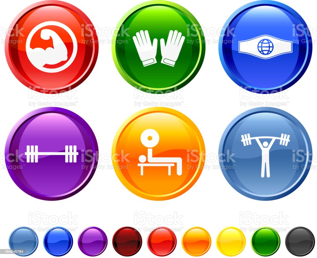 Weightlifting royalty free vector icon set royalty-free stock vector art
