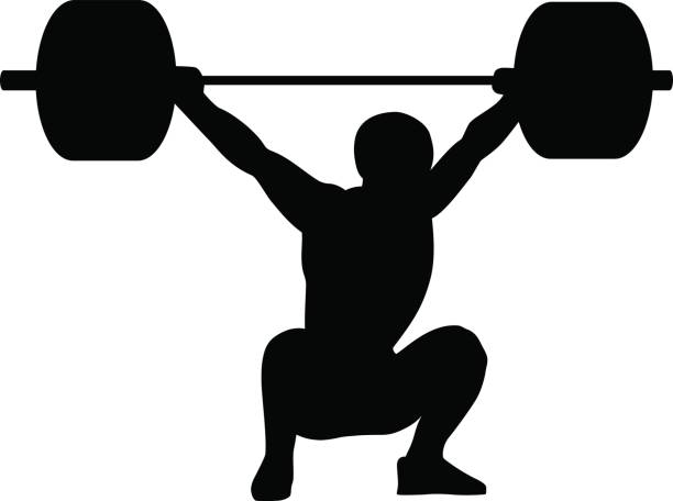 weightlifting snatch. silhouette of a man. - weightlifting stock illustrations, clip art, cartoons, & icons