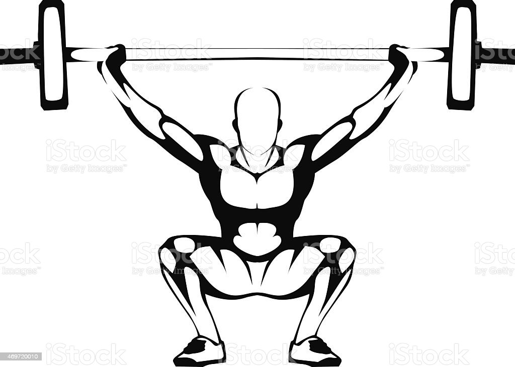 Weightlifting squat. Illustration. Man performing squat weightlifting. Ready for vinyl cutting. Easy to edit and use for gym sign. Vector illustration. 2015 stock vector