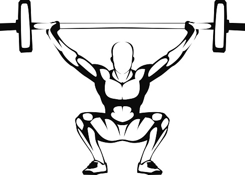 Weightlifting Squat Illustration Stock Illustration - Download Image Now