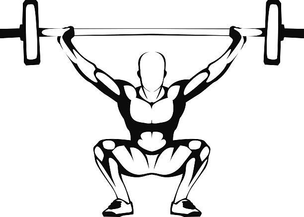 Weightlifting squat. Illustration. vector art illustration