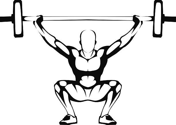 Levantamiento de pesas squat. Ilustración. - ilustración de arte vectorial