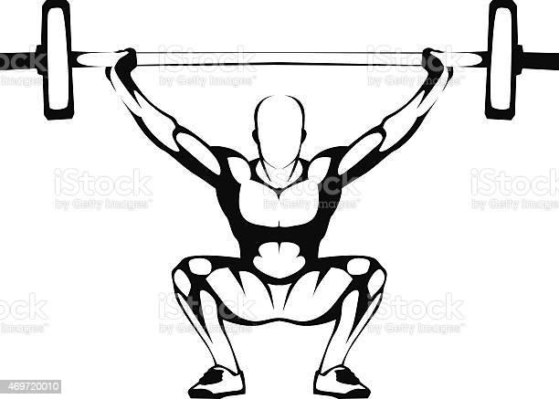 Weightlifting Squat Illustration Stock Illustration - Download Image Now