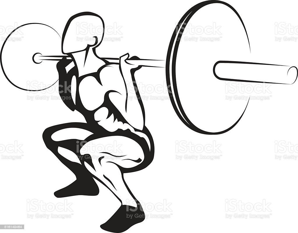 Weightlifting squat. Vector illustration vector art illustration