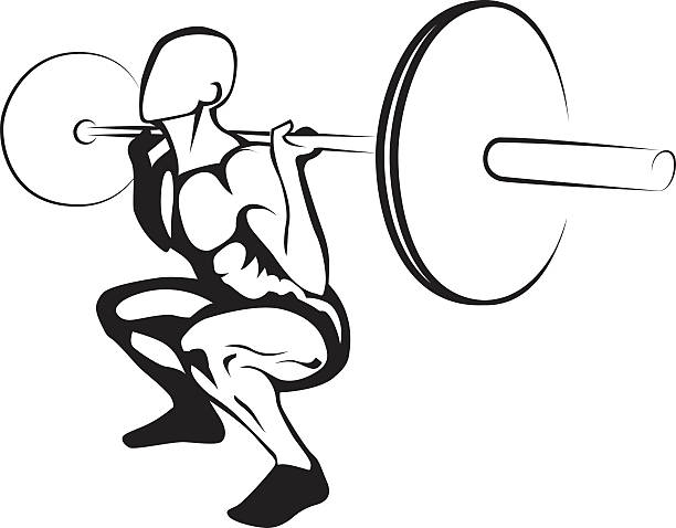 Weightlifting squat. Vector illustration vector art illustration