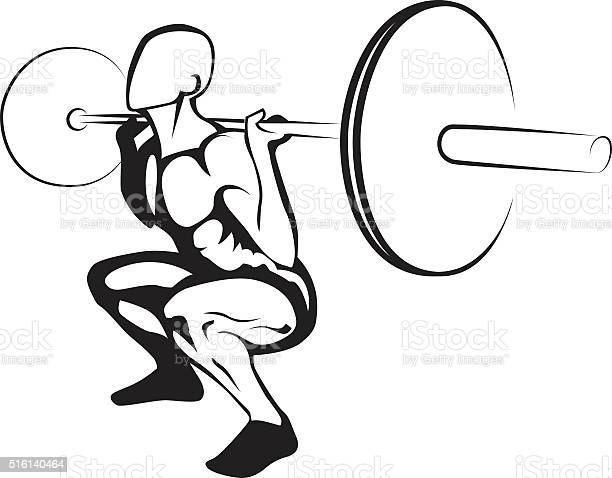 Weightlifting Squat Vector Illustration Stock Illustration - Download Image Now