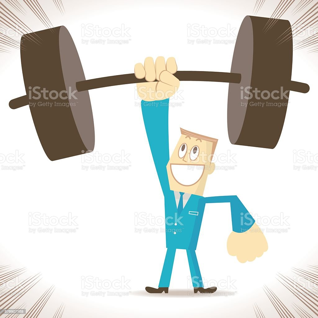 Weightlifting, strong businessman (elite) lifting heavy weight by one hand – Vektorgrafik