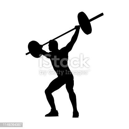 Weightlifting. Weight lifter lifts big barbell, isolated vector silhouette