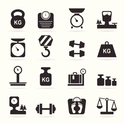 Set of icons of scales. A vector illustration