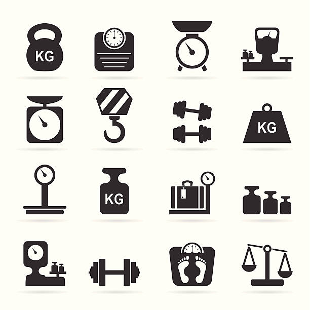 Weights and scales icons Set of icons of scales. A vector illustration weight stock illustrations