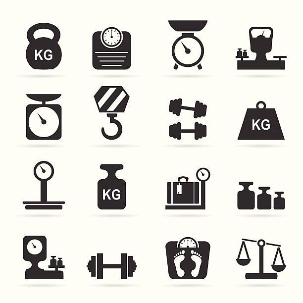 illustrazioni stock, clip art, cartoni animati e icone di tendenza di icone di pesi e scalabilità - peso