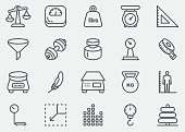Weights and Scales Line Icons