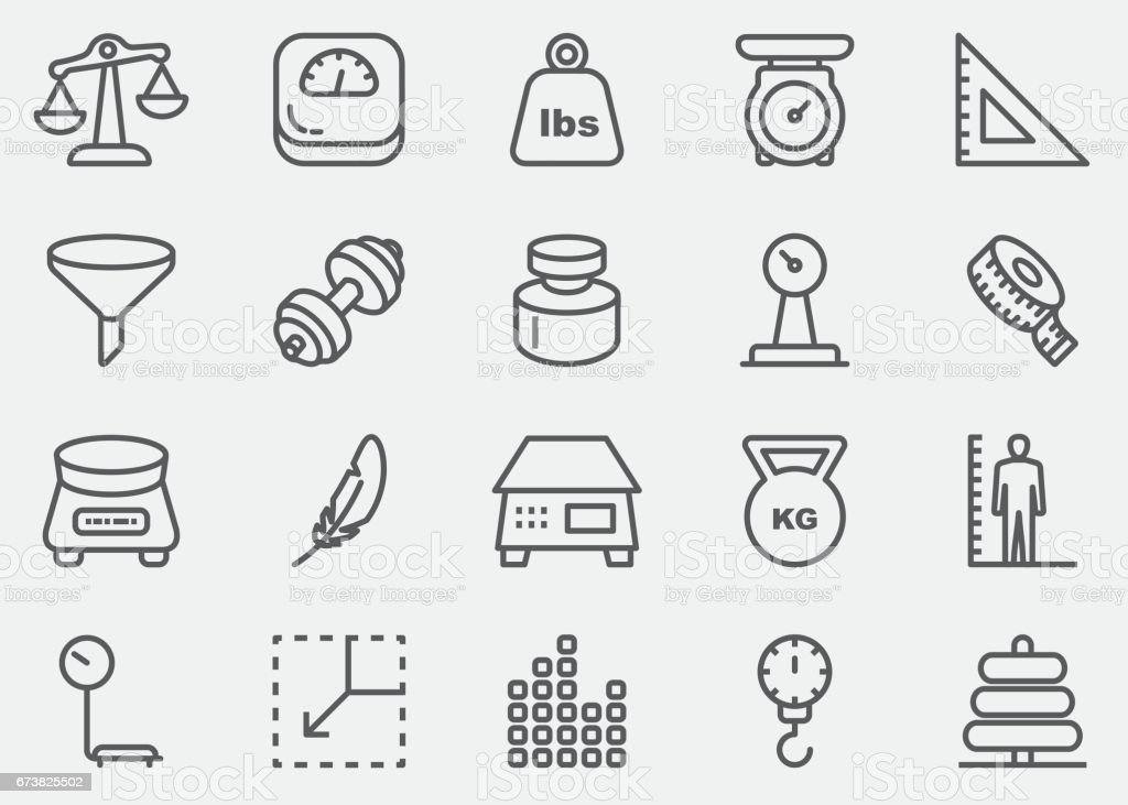 Weights and Scales Line Icons | EPS 10 vector art illustration