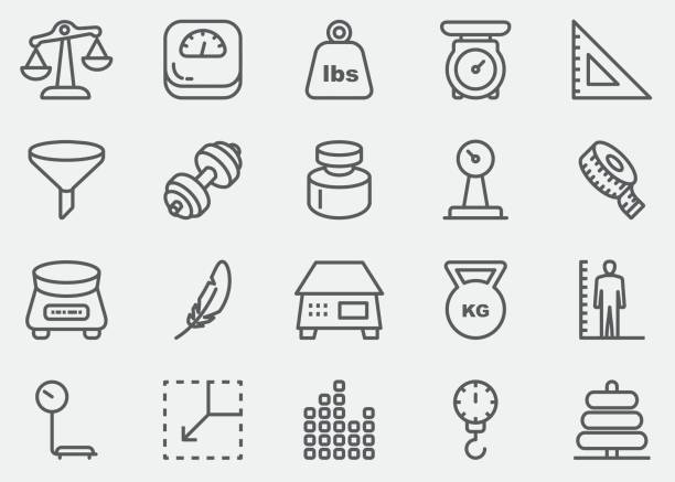 Weights and Scales Line Icons | EPS 10 Weights and Scales Line Icons  high up stock illustrations