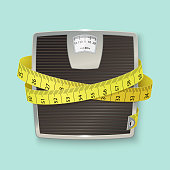 istock Weights and tape measure. Floor scales. Vector illustration 1045348058