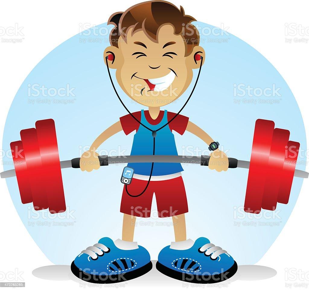 Weights Boy vector art illustration