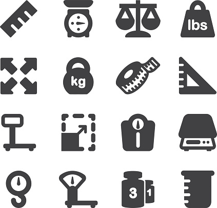 Weights Scales Unit Silhouette icons | EPS10