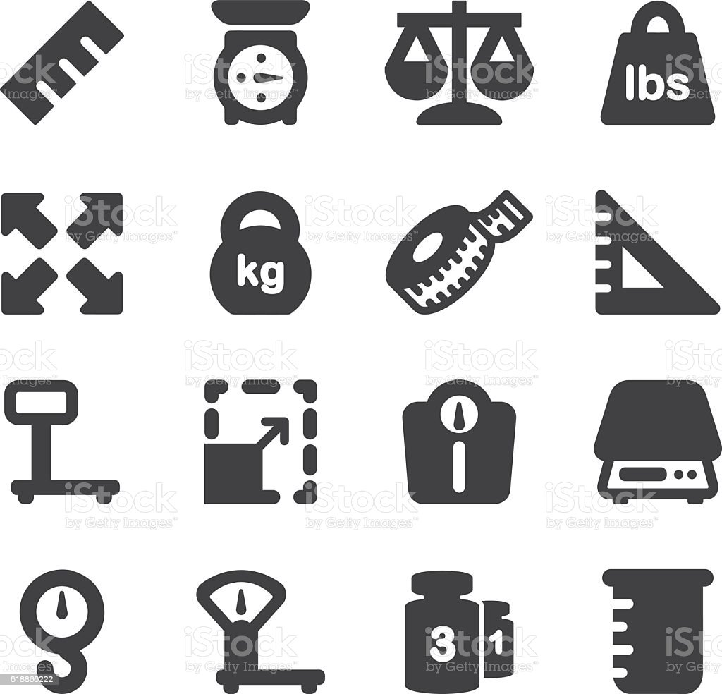 Weights Scales Unit Silhouette icons | EPS10 vector art illustration