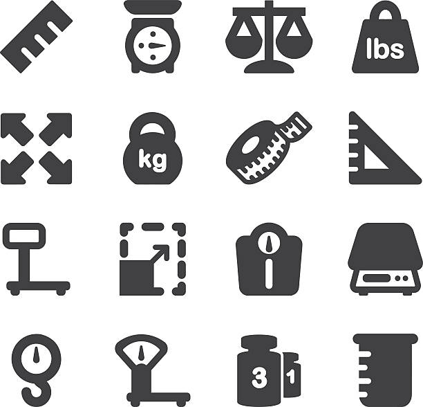 weights scales unit silhouette icons | eps10 - waga opis fizyczny stock illustrations