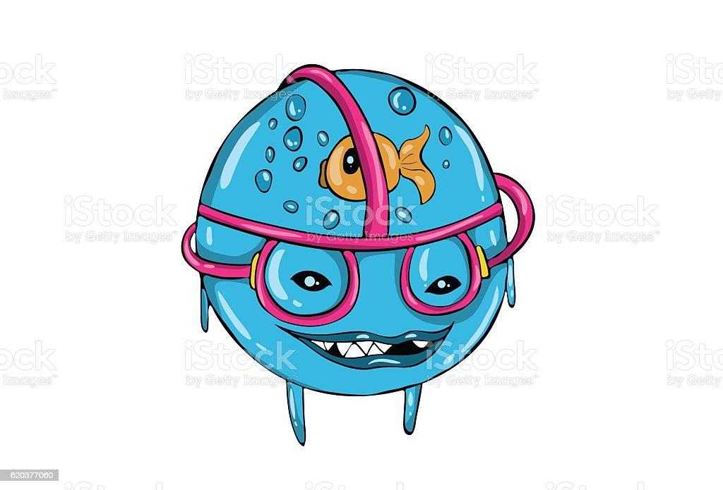 Weird and funny cartoon laughing. Aquarium in head with glass. weird and funny cartoon laughing aquarium in head with glass - arte vetorial de stock e mais imagens de amarelo royalty-free