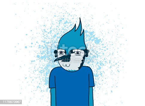 Weird Blue Jay Dude in a Blank Blue T-Shirt. Vector Illustration. Good for print, web and animation.