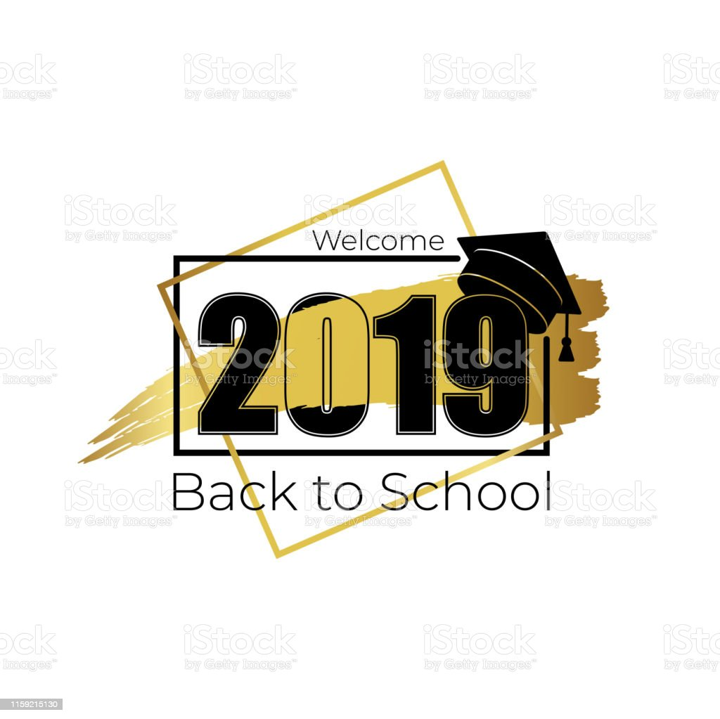 Welcome 2019, back to school. Hand drawn brush gold stripe and number...
