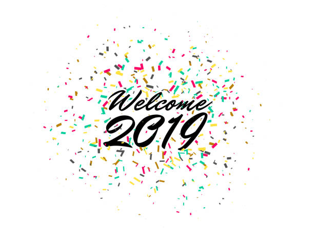 welcome 2019 happy new year celebration confetti background vector art illustration