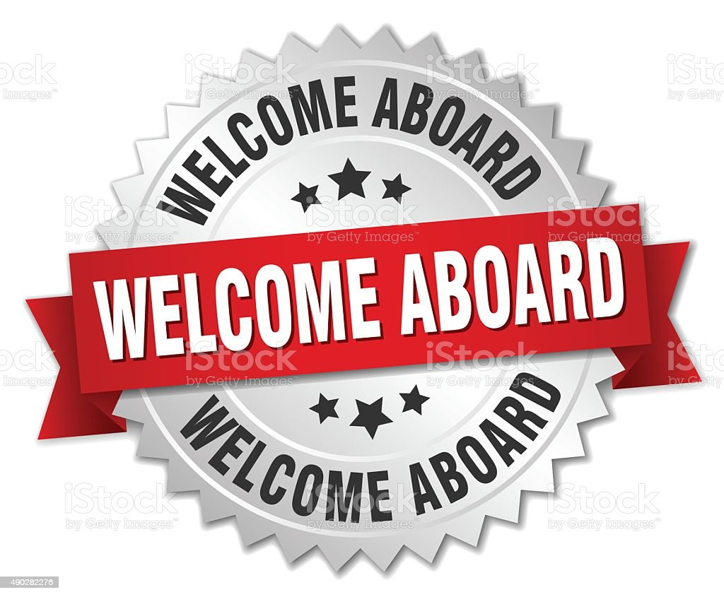 welcome aboard 3d silver badge with red ribbon vector art illustration