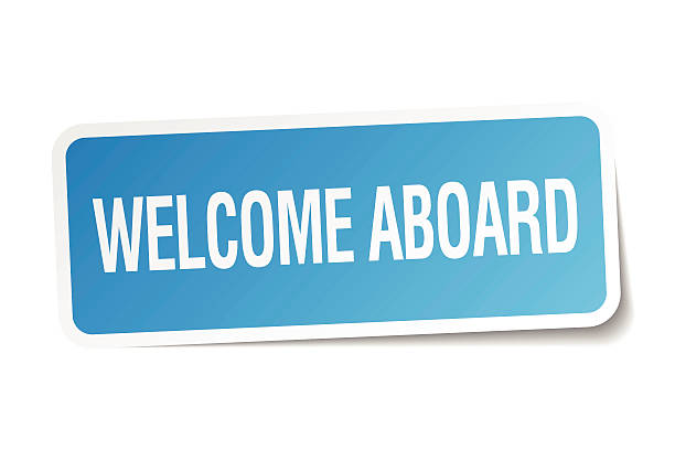 welcome aboard blue square sticker isolated on white welcome aboard blue square sticker isolated on white aboard stock illustrations