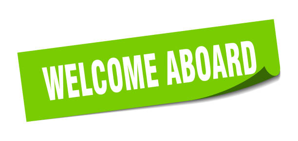 welcome aboard sticker. welcome aboard square isolated sign. welcome aboard welcome aboard sticker. welcome aboard square isolated sign. welcome aboard aboard stock illustrations