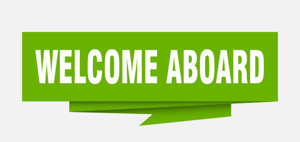 welcome aboard welcome aboard sign. welcome aboard paper origami speech bubble. welcome aboard tag. welcome aboard banner aboard stock illustrations