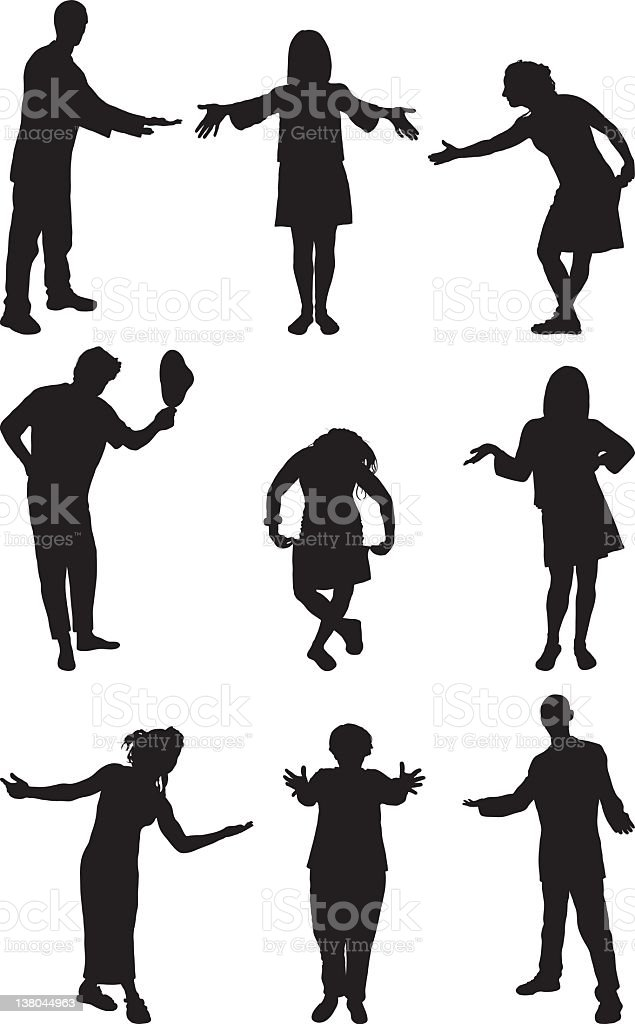 Welcome and Presenting Silhouettes vector art illustration