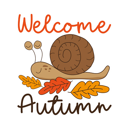 Welcome Autumn - greeting with cute snail and oak leaves.