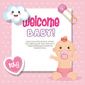 Welcome baby card with cute baby girl, heart, kawaii cloud and safety pin over pink dotted background. Vector illustration.