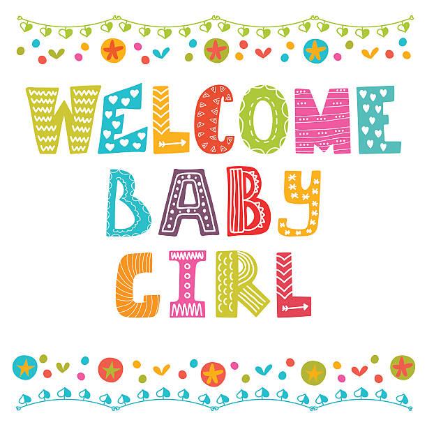 ベビーガールをお迎えします。赤ちゃんの到着カード女性ます。赤ちゃん女の子シャワー - 出産点のイラスト素材/クリップアート素材/マンガ素材/アイコン素材