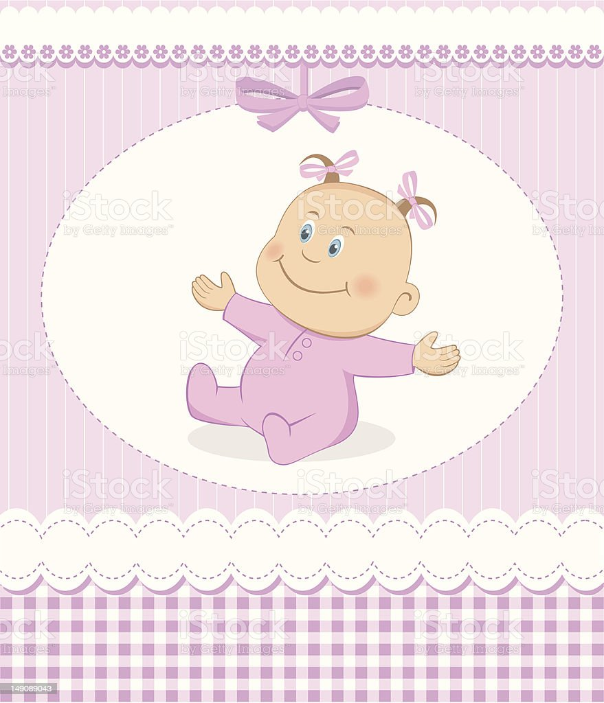Welcome baby girl card royalty-free welcome baby girl card stock vector art & more images of baby