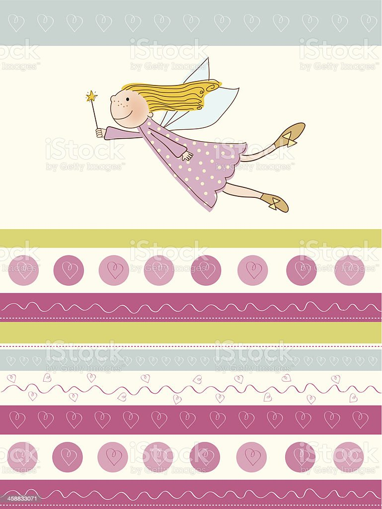 welcome baby girl card with little fairy royalty-free stock vector art