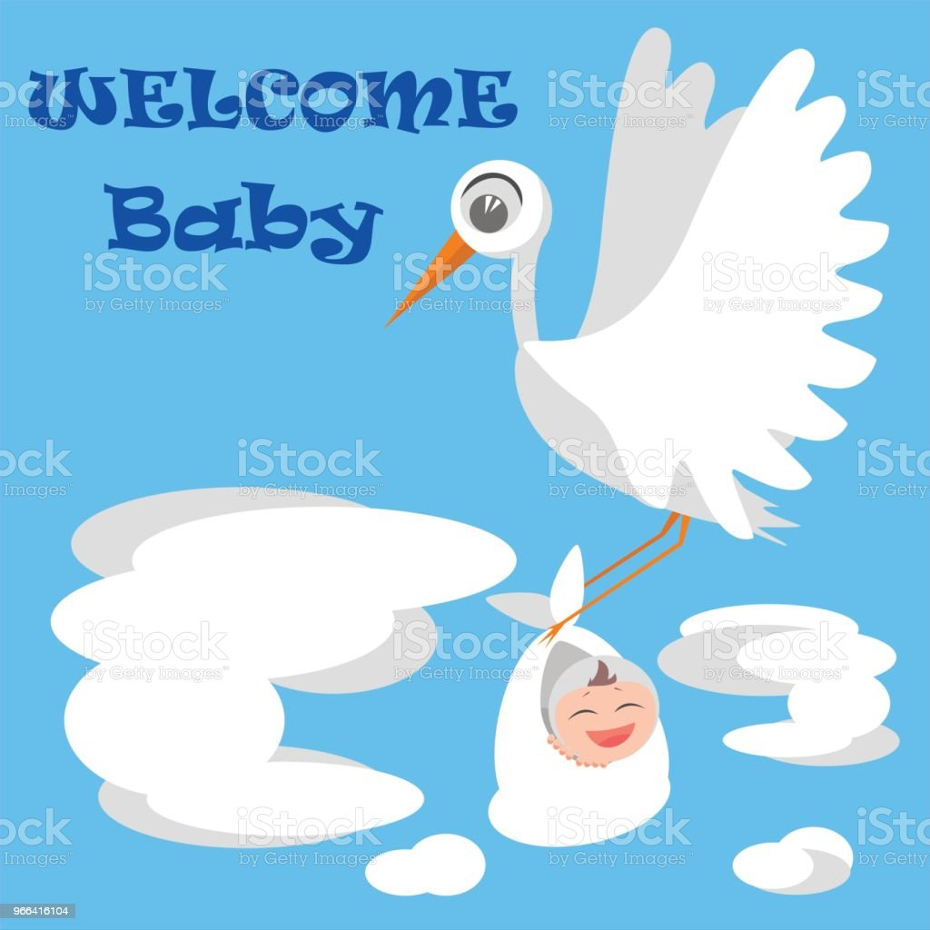 Welcome baby greeting card with stork and baby bird baby flat style welcome baby greeting card with stork and baby bird baby flat style m4hsunfo