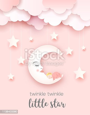 Welcome baby greetings card, vector paper art
