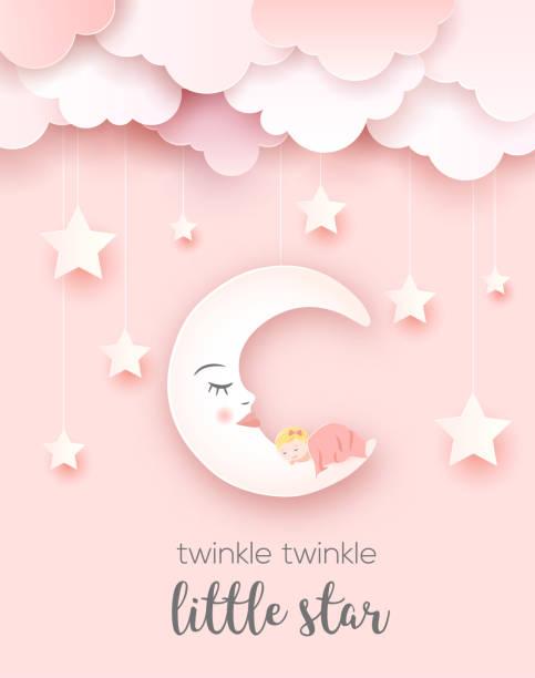 stockillustraties, clipart, cartoons en iconen met welkom baby groeten kaart. - klein