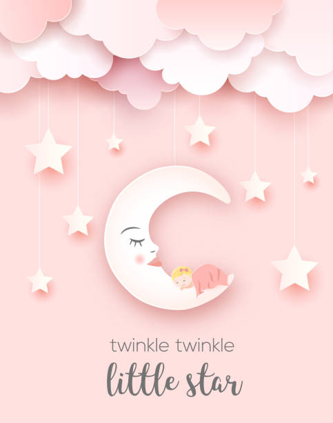 welcome baby greetings card. - маленький stock illustrations