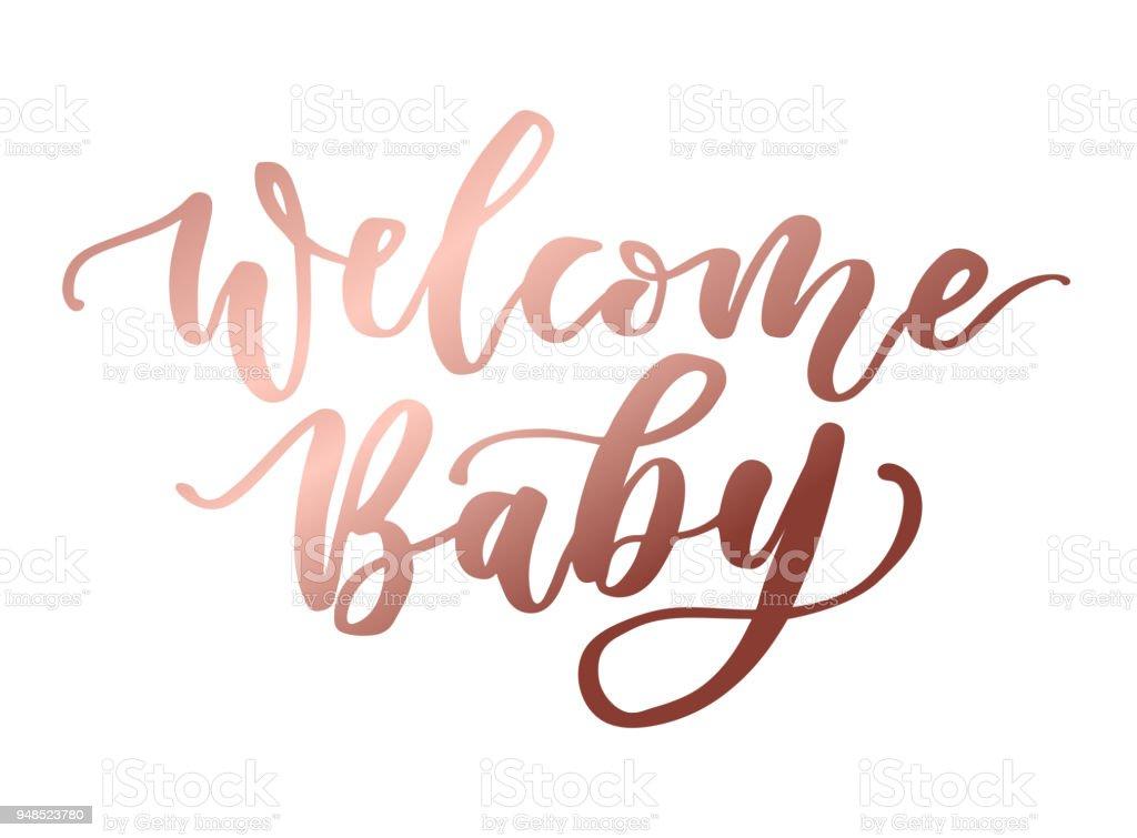 Bem-vindo a inscrição de rotulação de ouro rosa bebê. - ilustração de arte em vetor