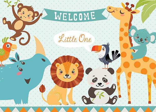 ilustraciones, imágenes clip art, dibujos animados e iconos de stock de bienvenido de bebé - baby shower