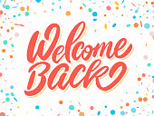 Welcome back banner. Vector hand drawn illustration.