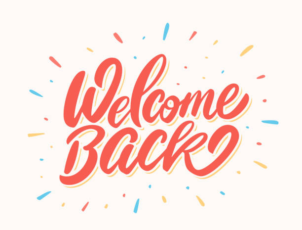 Welcome back banner. Welcome back banner. Vector lettering. Vector hand drawn illustration. back stock illustrations