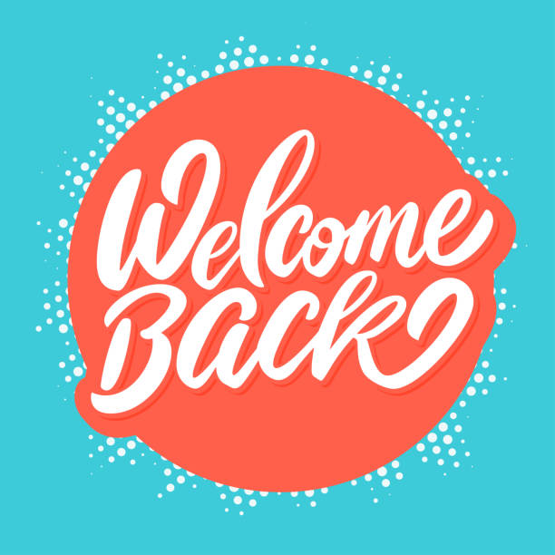 Welcome back banner. Welcome back banner. Vector hand drawn illustration. back stock illustrations