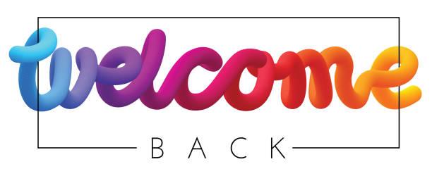 witamy z powrotem kolorowy napis widmo izolowane na białym. - plecy stock illustrations