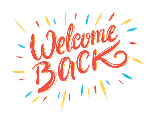 Welcome back hand drawing vector illustration. Welcome back hand drawing vector illustration isolated on white background. greeting stock illustrations